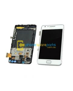 Samsung Galaxy S2 i9100 screen display assembly with frame WHITE